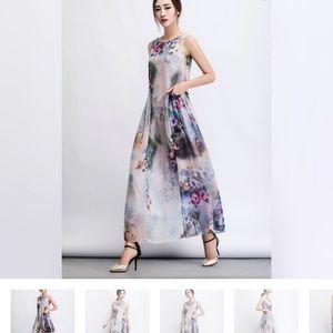 NWOT Watercolor Maxi Dress